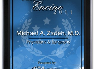 Dr. Michael Zadeh Receives Best in Encino Award