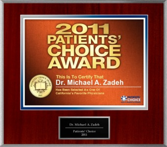 Dr. Michael Zadeh selected for 2011 Patients' Choice Award